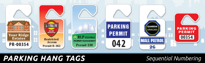 Security Graphics Parking Permits Mirror Hang Tags Alarm